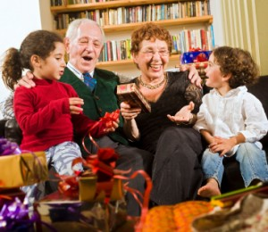 seniors grandchildren holiday