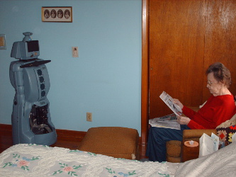 CareBot waiting while senior reads